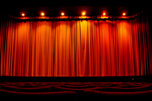Red stage curtain with lights - Movie Screen Curtain Images Amp Pictures Becuo