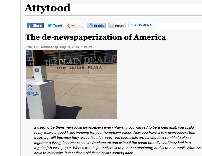 Denewspaperization article
