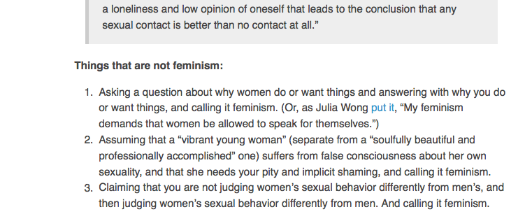 Things that are not feminism article